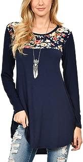 Jojckmen Women Girl O-Neck Pullover Floral Print Undershirt Long Sleeve T-Shirt Tops