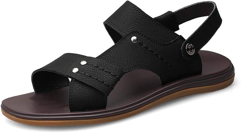 Men's Sandal Comfort Breathable Slip Outdoor Beach Open Toe Slipper PU Leather Non-Slip shoes (color   Black, Size   6 UK)