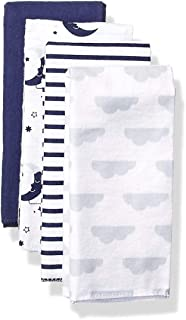 Unisex Baby Cotton Flannel Burp Cloths, 4-Pack