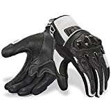 Oro Biker Motorcycle Gloves, Leather and Breathable Summer Mesh Touch Screen Motorbike Powersports Racing ATV Riding Gloves (Large, Black/White)