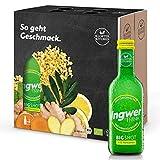 6er Pack Kloster Kitchen Bio IngwerTRINK Bigshot 6x 250ml, je 12x 20ml Ingwer Shot, über 40g Ingwerstückchen, 12 Shots in EINWEG Glasflaschen, vegan
