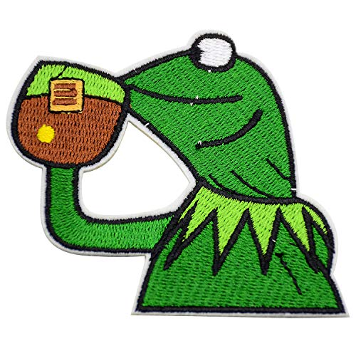 Kermit The Frog Pattern Patches Embroidery Velcro Iron-on Decoration Sew on Patches for DIY Jeans, Jacket, Clothing, Bags, Caps