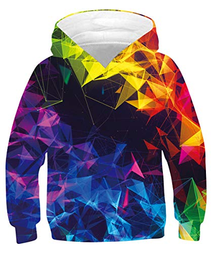 Raisevern Teen Boys Girls Hoodies Color 3D Graphic Sweaters Crewneck Sweatshirts Novelty Pullover With Pocket for Hip Top Daily Clothes ,Size 9-11T