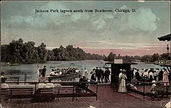Jackson Park Lagoon South from Boathouse Chicago, Illinois Original Vintage Postcard