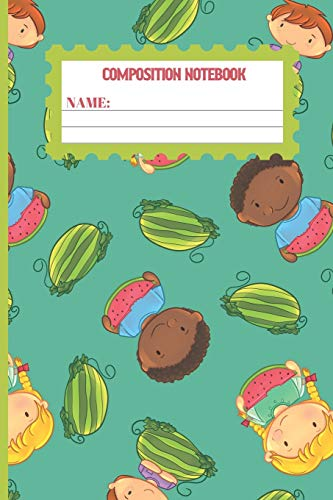 Composition Notebook: Watermelon gifts: cute Keppel color pattern college ruled lined paper to write in.