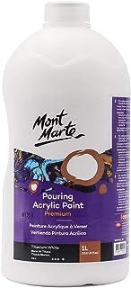 Mont Marte Premium Pouring Acrylic Paint, 1L (33.8oz), Titanium White, Pre-Mixed Acrylic Paint, Suitable for a Variety of ...