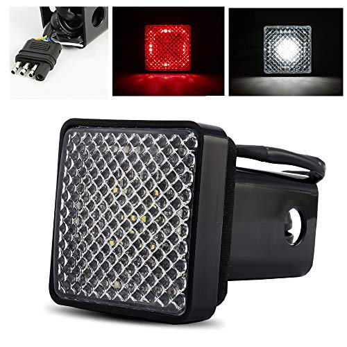 "ModifyStreet Red/White LED Hitch Cover Light with Running/Brake/Reverse Functions for Truck Towing Trailer or SUV Class III 2"" Receiver"