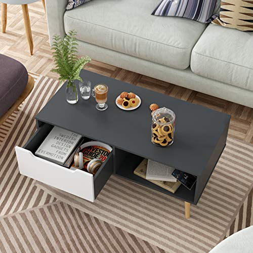 Homfa Coffee Table Living Room Table Modern Side Table Tv Stand Rectangle Centre Table With Drawer 100x49 5x43cm Grey White
