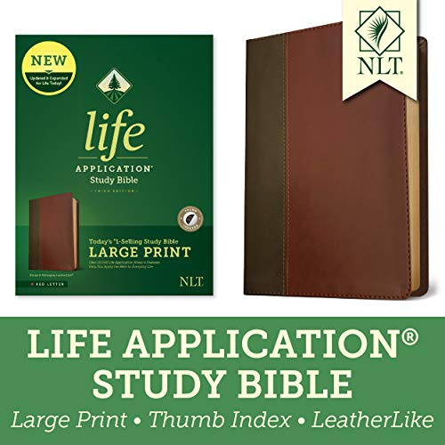 Tyndale NLT Life Application Study Bible, Third Edition, Large Print (LeatherLike, Brown/Mahogany, Indexed, Red Letter) – New Living Translation Bible, Large Print Study Bible for Enhanced Readability