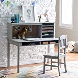 Guidecraft Children's Media Desk and Chair Set White: Student Study Computer Workstation, Wooden Kids Bedroom Furniture