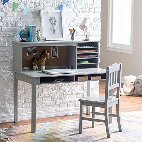 Guidecraft Children's Media Desk and Chair Set Gray: Student's Study Computer Workstation with Hutch and Shelves, Wooden Kids Bedroom Furniture