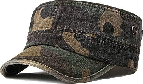 Unisex Militare Esercito Cappello Cappello Uomini Donne Regolabile 100% Cotone Flat Top Cadet Cap P_Camo_verde militare Taglia unica