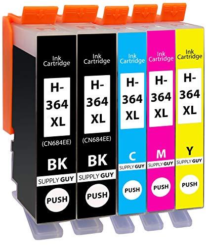 Supply Guy 5 Druckerpatronen kompatibel mit HP 364 XL / N9J74AE (2X Schwarz, 1x Cyan, 1x Magenta, 1x Gelb)