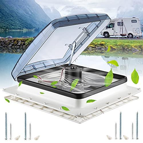 Ventilador para Caravanas TTLIFE 12V 400*400cm Ventilador De Ventilación De Autocaravana 3 velocidades de admisión Ventilador de ventilación de techo RV Para RV