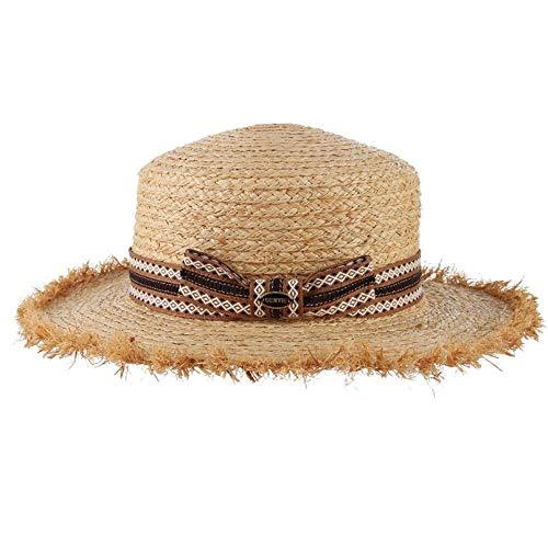 Cappelli Cappello da Sole Cappello di Paglia Cappello Estivo da Donna Cappotto in Rafia Tessuto A Tesa Larga Cappello da Viaggio Cappello da Donna Cappello da Spiaggia 56-58 Cm (Regolabile) E