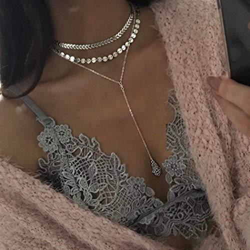 Ludress - Gargantilla de plata con diseño de flecha y lentejuelas, con colgante de mano, cadena larga, accesorios de joyería para mujeres y niñas