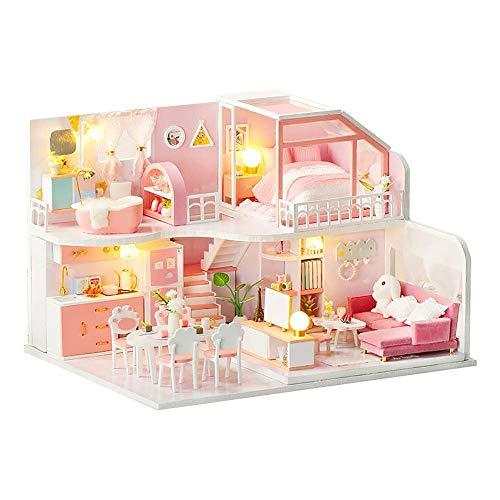 Chunjiao Nueva DIY casas de muñecas en miniatura de madera del rompecabezas Cafe Dollhouse Kit 3D montaje de maquetas Los juguetes con luces LED de Música Creativa Decoración Artesanía regalo de Navid