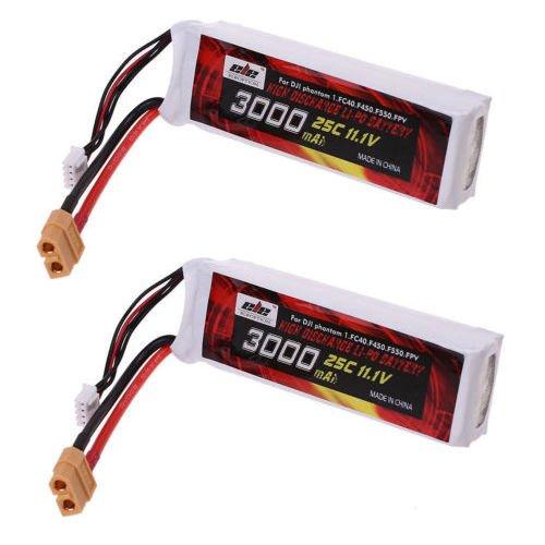 Jian Ya Na 3S 3000mAh 11.1V 3.0Ah Lipo reemplazo de la batería 25C XT60 enchufable para DJI Phantom 1 FC40 F450 F550 FPV 2 paquetes