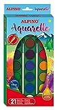 Acuarelas Alpino - Estuche 21 Colores - Cajas de Acuarelas para Niños - Incluye Pincel - Colores Intensos, 28mm diámetro