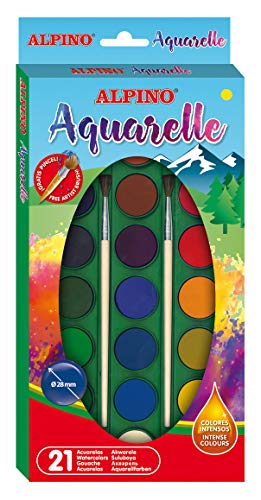 Alpino Aquarelle 21 Watercolor Paints Set with 2 Paint Brushes