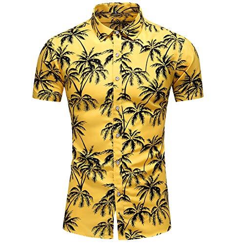 Camisa de Manga Corta Estampada de Talla Grande para Hombre Moda Slim Fit New Streetwear Moda Casual Camisa de Solapa con Muesca Tops XXL
