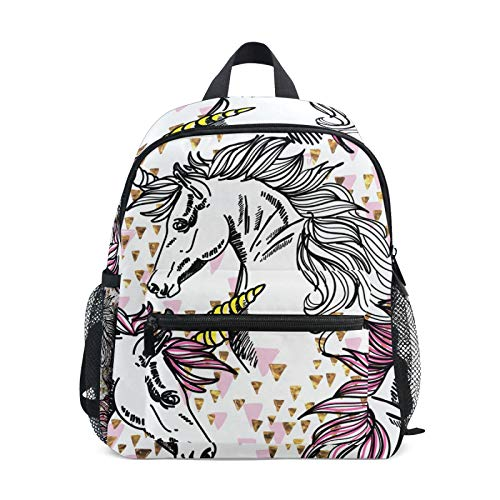 Backpack for Boys and Girls Mini Backpack Travel Bag with Chest Clip Beautiful With Unicorns