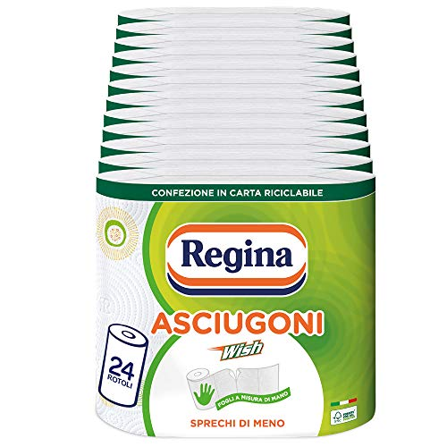Regina Wish Carta Cucina | Confezione da 24 Rotoli | 150 strappi per rotolo* | Fogli a misura di mano, scegli quanto basta e sprechi di meno | Carta 100% certificata FSC®