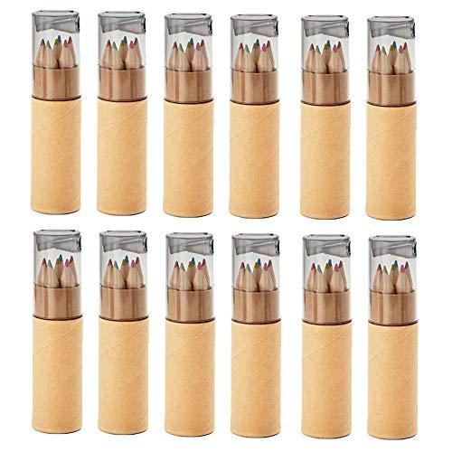 noTrash2003 12 Sets mit je 6 Buntstiften Kinder Mini Buntstifte Zertifiziert nach EN71-1, -2 und -9 Geburtstag Mitgebsel Anspitzer (Hellgrau)
