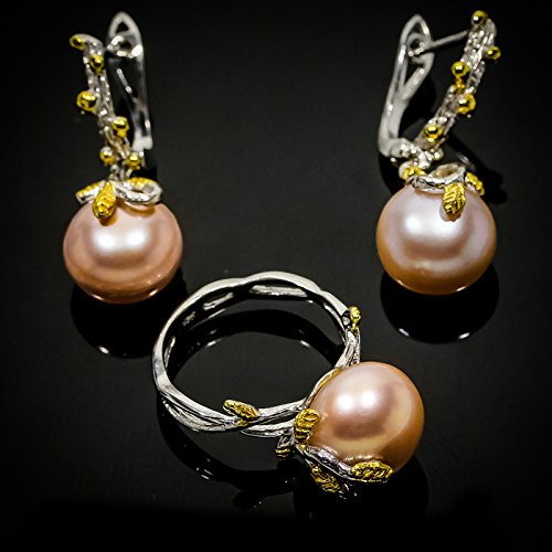 Charming Design Natural Pearl 14mm. 925 Sterling Silver Ring and Earrings Size 7 8 9 us