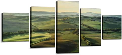 tuscany landscape at sunrise with low fog panoramas and pictures Modern Art Painting set Digital Print Picture on Canvas Framed Artwork Wall Decor Living Room Office Bedroom 5 Pieces