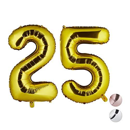 Relaxdays folieballon getal 25, decoratieve ballon voor verjaardag, jubileum, trouwdag, 85-100 cm, XXL reuzenballon, goud