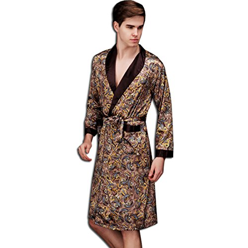 Herren Jungen Satin Morgenmantel Schlafanzug Schlafkleid Nachtwäsche Kimono Bademantel (Kaffee)