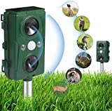 AWISUK Ultrasonic Cat Repellent,Waterproof Ultrasonic Animal Repeller Solar Battery Operated with 5 Frequency Modes & Timer Effective for Fox Deterrent Cat Scarer Repellent in Gardens