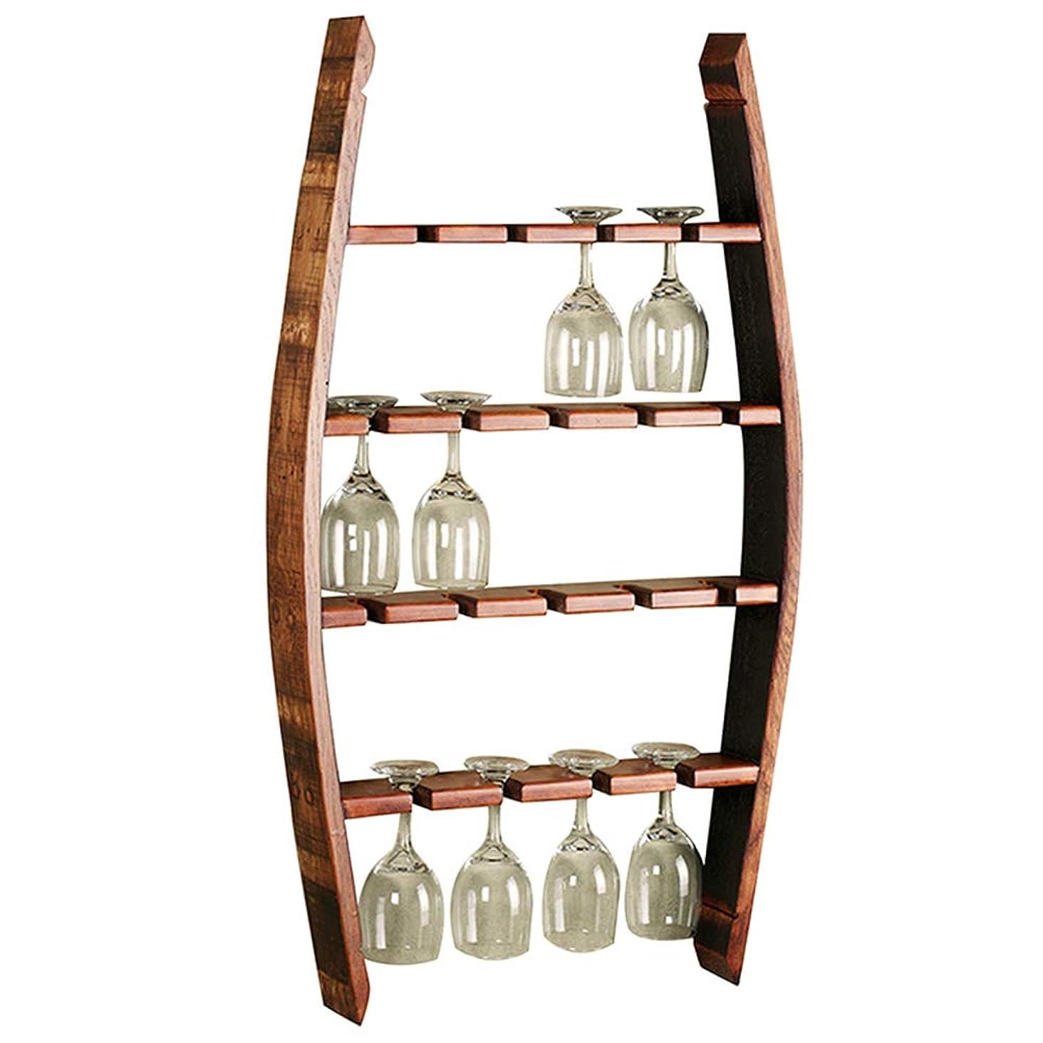 中性真鍮自分の力ですべてをするYANZHEN ワインスタンドゴブレットホルダー逆さまパンチ取り付け丈夫な建設キッチン棚無垢材、4層 (色 : Brown, サイズ さいず : 52x10x90cm)