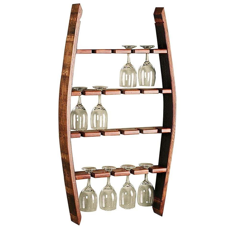 にもかかわらずふさわしい副YANZHEN ワインスタンドゴブレットホルダー逆さまパンチ取り付け丈夫な建設キッチン棚無垢材、4層 (色 : Brown, サイズ さいず : 52x10x90cm)