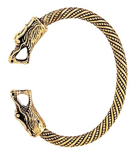 Gedrehtes Armband mit zwei Drachenköpfen im nordischen- / Wikinger-Stil, verstellbarer Schmuck-Armreif für Herren