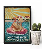 """Póster con texto en inglés """"And She Lived Happily Ever After Post"""", póster de libro de amor, póster ..."""