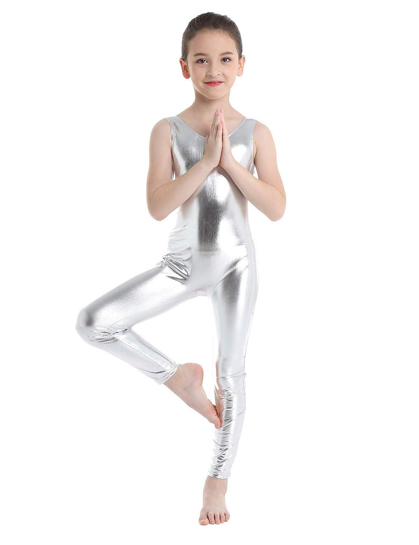 UK Girls Metallic Gymnastics Leotard One Piece Kids Ballet Dance Dress Jumpsuit