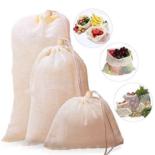 3 PACK - Sacchetti per la Spesa riutilizzabili per Frutta e Verdura, in Cotone, Lavabili, ecologici, con Coulisse (Piccoli, Medi, Grandi)