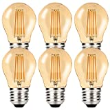 MZYOYO Lampadina a LED da 4 W E27, stile vintage, 4 W, G45, 2700 K, luce bianca calda, sostituisce lampadina a filamento da 40 W, luce bianca calda, non dimmerabile, ambra