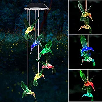 Wind Chime Solar Hummingbird Wind Chimes Outdoor/Indoor Gifts for mom/momgrandma Gifts/Birthday Gifts for mom  Outdoor Decor,Yard Decorations ,Memorial Wind Chimes,mom s Best Gifts