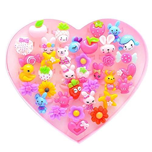 AoFeiKeDM Anello Giocattolo 36 Pezzi Multicolore Dress Up Versione Coreana Carino Rosa Bambina Gioielli Bambini Cartoon Candy Anelli Colore Adatto per Halloween Pasqua Natale