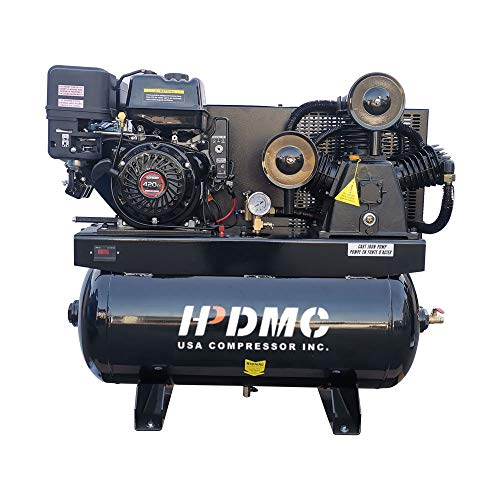 HPDMC 13HP Gas Powered Air Compressor, 3-Cylinder, 30 Gallon Horizontal Tank, Piston Pump Air Compressed System (180 PSI @ 24 CFM)