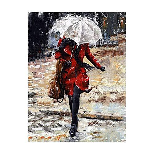 Kit De Pintura De Diamantes Para Adultos Mujer De Rojo Con Paraguas Taladro Completo Cristal Redondo Rhinestone Imagen Artesanía Para El Hogar Decoración 30 * 40cm