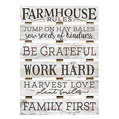 Farmhouse Rules Grateful Work Hard Love 17 x 24 Inch Solid Pine Wood Skid Wall Plaque Sign