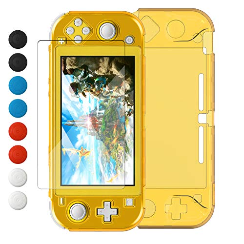 Crystal Clear Cover Case for Switch Lite, Ultra Slim Clear Hard PC Protective Case for Nintendo Switch Lite with a Glass Screen Protector and 8 Thumb Grips Caps(Yellow)