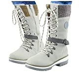 Padaleks Women's Mid Calf Winter Snow Boots Comfortable Outdoor Anti-Slip Combat Booties Lace Up Warm Fur Lined