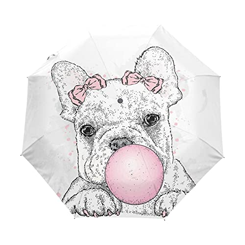 Oyihfvs Cute French Bulldog Puppy with Pink Gum Auto Open/Close Folding Umbrella, Strong Lightweight Travel Rain Umbrella, Portable Automatic Compact Sun Parasol with UV Protection