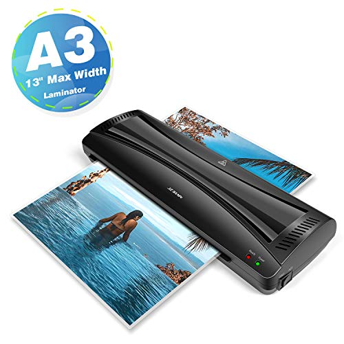 Laminator Machine, JZBRAIN A3 Laminating Machine, 13 inches, Fast Warm-Up, Quick Laminating Speed, Thermal Laminator for Home School Office Use, Black