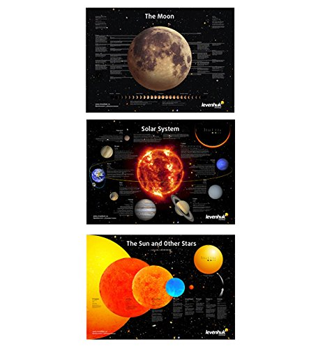 Levenhuk Educational Space Posters Set of 3 Posters: Moon, Solar System,...